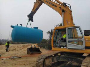 Depósito para enterrar suministrado para obra del Puerto de Huelva